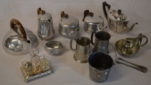 Picquot ware, pewter tankards,