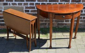 Demi lune table and a small gate leg table
