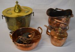 Brass coal box, copper coal scuttle, heavy copper pan,