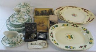 2 boxes of ceramics inc meat plates and ivy pattern part dinner service etc, opera glasses,