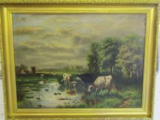 Framed oil on canvas 'Cattle at the Mill Pond' signed and dated L Wallis 1898 81 cm x 64 cm (size
