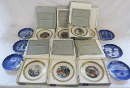 7 boxed Royal Copenhagen Hans Christian Anderson cabinet plates & Royal Copenhagen Christmas plates