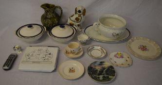 Various ceramics including two tureens, chamber pot,