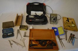 Various vintage hand tools / precision tools including micrometer, dremel style multi tool,