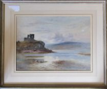 Watercolour of a loch and castle by R M Scott 69 cm x 58 cm