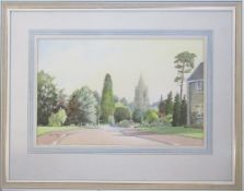 Watercolour of Barnack church by Cyril J Mayes,