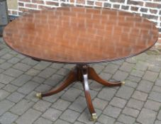 Regency style mahogany dining table by G T Rackstraw Ltd diameter approximately 138 cm