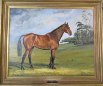Oil on canvas horse portrait of Owen Gregory 1980 - The Hickstead Show Jumping winning horse by