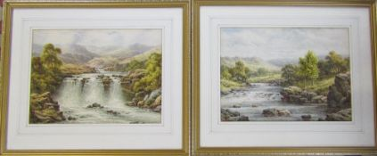 Pair of framed watercolours of waterfalls/rapids by Charles A Bool (late 19th/early 20th century)