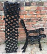 Pair of cast iron bench ends & a back