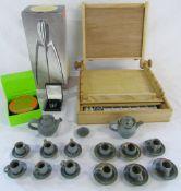 Artists box, trinket box, silver necklace,