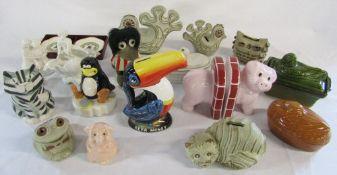 Assorted ceramics inc novelty money boxes,