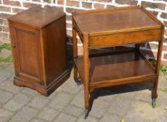 Oak trolley and a bedside cabinet