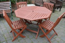 Hexagonal patio table and 4 chairs