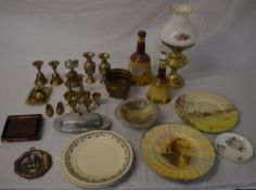 Various metalware, empty whisky decanters,