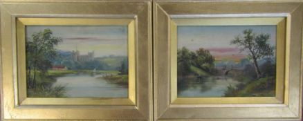 Pair of gouache paintings - Arundel Castle and Swanbourn Lake near Arundel 30 cm x 24 cm (size