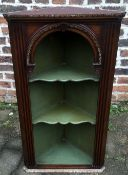 Georgian style open front corner cupboard with shaped shelves H 91cm W 50cm