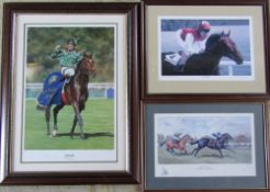 3 limited edition horse racing prints - Sinndar - J P Murtaph 89/125 signed by jockey and artist,