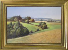 Oil on board 'View from Haugh' by Baz East (b.1938) signed lower left corner 72 cm x 53.
