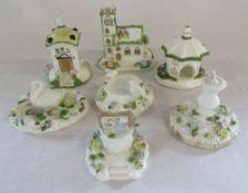 Selection of Coalport ceramics - Village Church, The Umbrella House, Dove cote, The Bird bath,