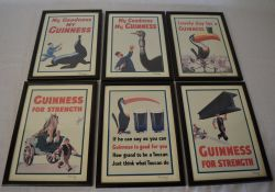 Set of 6 Guinness framed prints each with a label relating to John Gilroy dated August 1981
