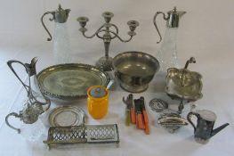 Various silver plate inc candelabra & claret jugs