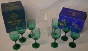 8 green glass goblets, decanter,