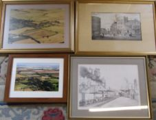 Assorted prints and aerial photographs/pictures