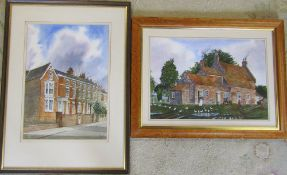 2 David Cuppleditch watercolours of Eastgate Louth 57 cm x 77 cm and The Farmhouse,
