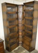 2 Globe Wernicke sectional bookcase with leaded glass & label & a corner unit
