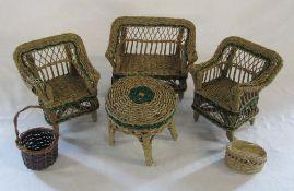 Miniature wicker table,