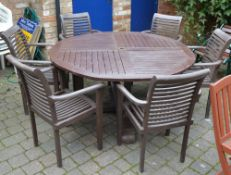 Round patio table and 6 chairs