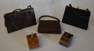 3 handbags and 2 clothes brushes sets