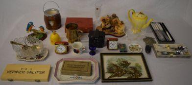 Travel clocks, camera, brass birds,