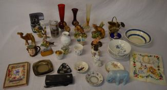 Various animal figures, glass vases, paperweight,