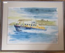 Limited edition 7/250 print of the Whitby Lifeboat by Edna Lumb (1931-1992) signed and numbered in