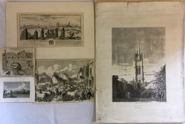 David N Robinson collection - 5 unframed prints including Louth Park Abbey 1726,