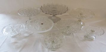 Selection of glass cake stands inc Waltherglas