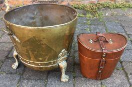 Brass coal basin & a hat box