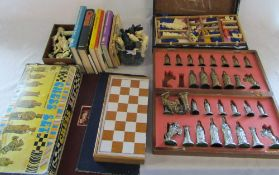 Assorted chess sets,