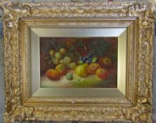 Oil on board still life of fruit by Vincent Clare (1855-1930) in ornate gilt frame 54 cm x 43 cm