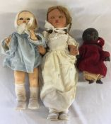 3 mid 20th century dolls (one with split to head)