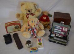 Various soft toys, Canon Zoom cinecam, Commodore calculator,