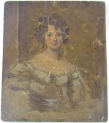 Early 19th century oil painting on wooden panel of a young girl with further painting to reverse 26