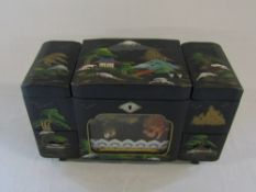 1940/50s Japanese hand painted lacquered rickshaw musical jewellery box (no key)