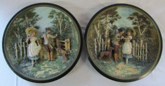 Pair of late 19th early 20th century German Musterschutz large wall plaques (1 af)