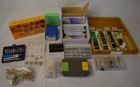Watch parts - box of watch tools and spares including magnifying glasses, replacement crystals,