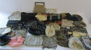 Collection of vintage handbags, evening bags and purses inc beaded,
