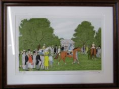 Limited edition lithographic print of a horse parade ring by Vincent Haddelsey 14/50 62 cm x 47 cm