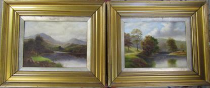 Pair of oil on canvas lake and mountain scenes in gilt frames 46 cm x 39 cm (size including frame)